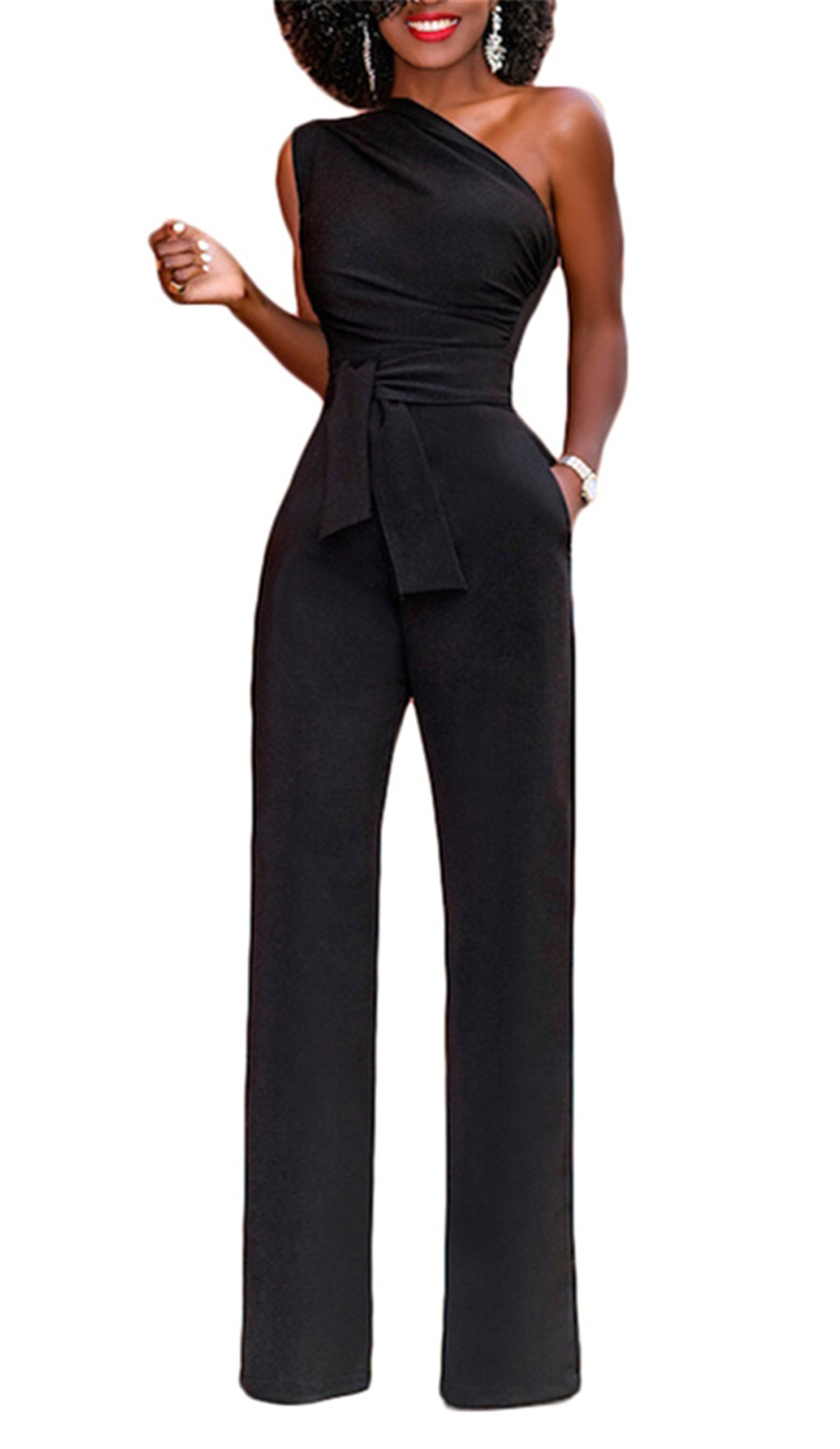 onlypuff Jumpsuits and Rompers for Women Off The Shoulder Long Pants Work Formal Jumpsuit with Belt (Large, Black)