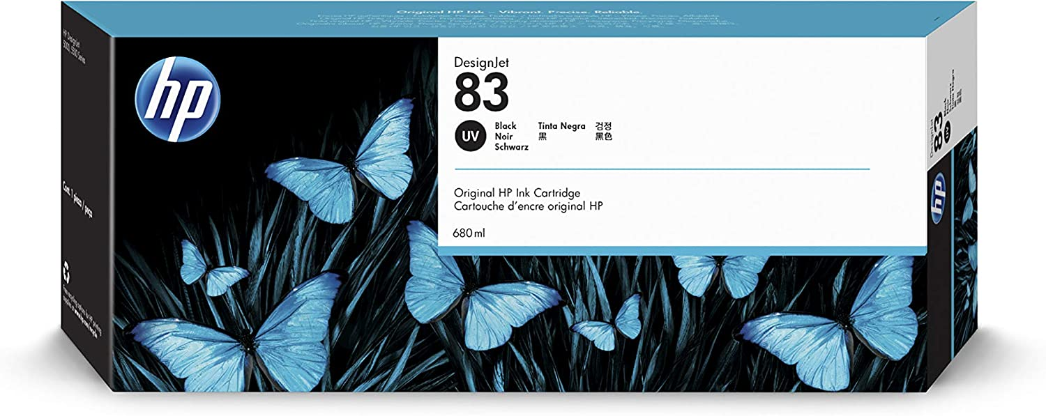 HP 83 C4940A UV Ink Cartridge for DesignJet 5000 series, 680ml, Black