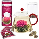 Teabloom Flowering Tea Set - 34 Oz Red Glass Teapot with Infuser and 12 Blooming Tea Flowers in Gift Canister
