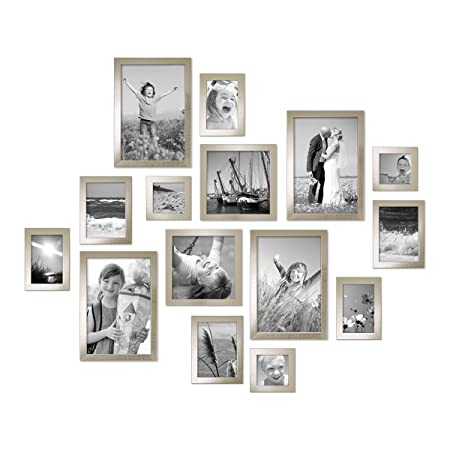 Photolini Set of 15 Picture Frames, in Silver, Solid Wood, with 5 ...
