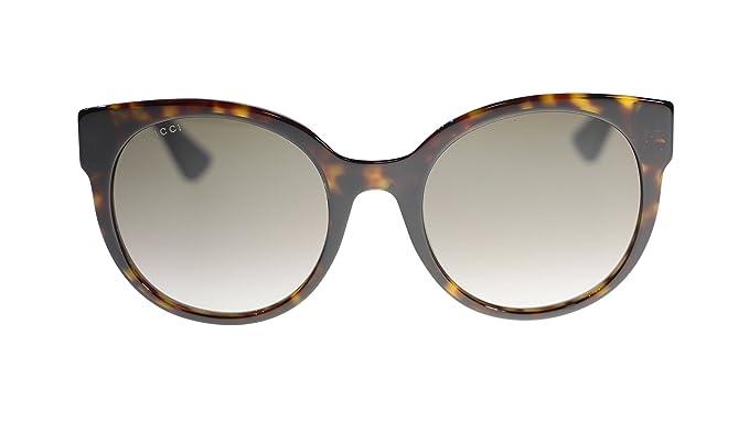 0961e814e1 Gucci Women Sunglasses GG0035S 004 Dark Havana Brown Lens Round 54MM  Amazon.co.uk   Clothing