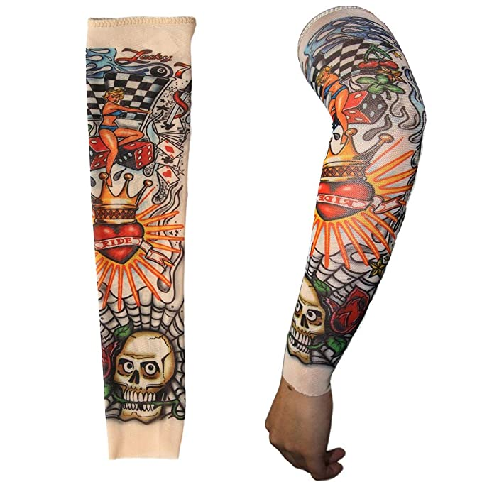 291f36ffed980 Amazon.com: 2 x Fake Nylon Kid Temporary Fake Tattoo Sleeves Arm Stockings  Goth Punk Cool Child: Clothing