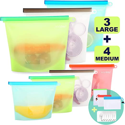 reutilizables para verduras para guardar alimentos carne frutas azul 5 bolsas de silicona para alimentos de 1500 ml aperitivos almuerzo