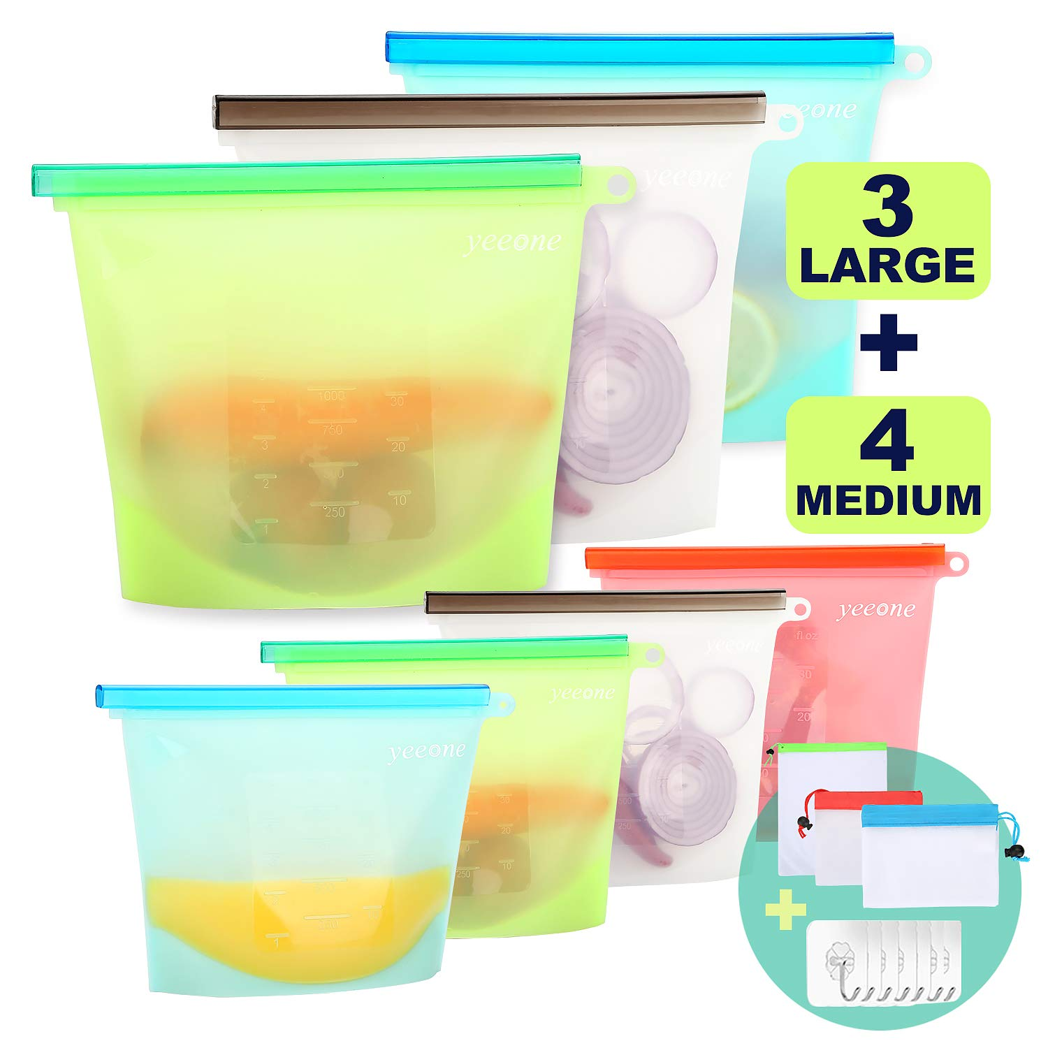 Reusable Silicone Food Storage Bags ,Yeeone 17 Pack Food Grade Airtight Seal Versatile Preservation Bags for Sandwich, Snack, Vegetable, Liquid, Meat, lunch, fruit, Freezer Containers