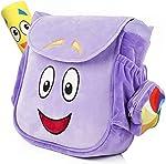 TIMSOPHIA Creative Backpack with Map Toys School Bag Purple Cartoon Storage
