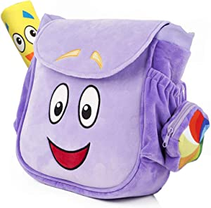 TIMSOPHIA Creative Backpack with Map Toys School Bag Purple Cartoon Storage Bookbag(A)
