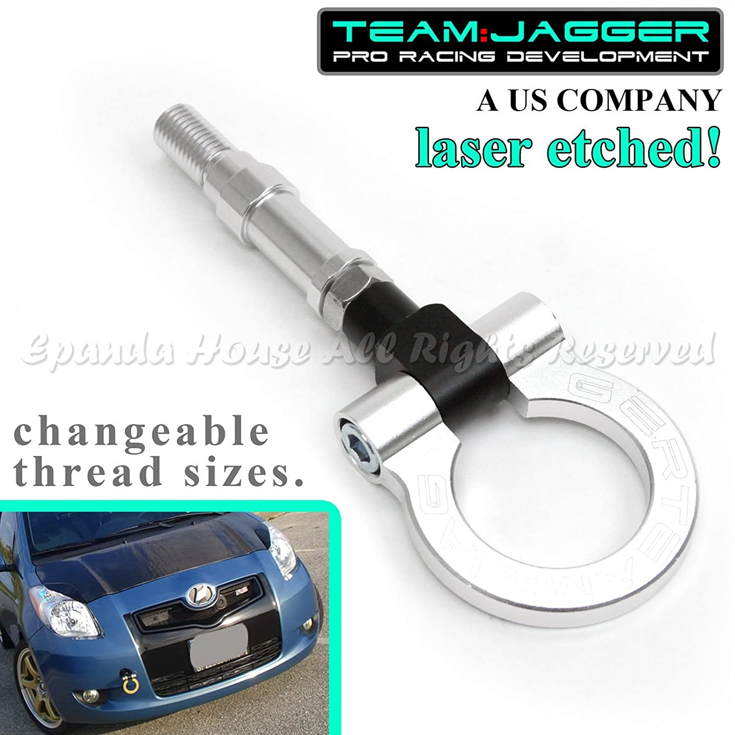 Team Jagger For 15-17 Kia Soul USA 4-door Round Track Style FlipUp Aluminum Tow Hook Anodized Silver EpandaHouse