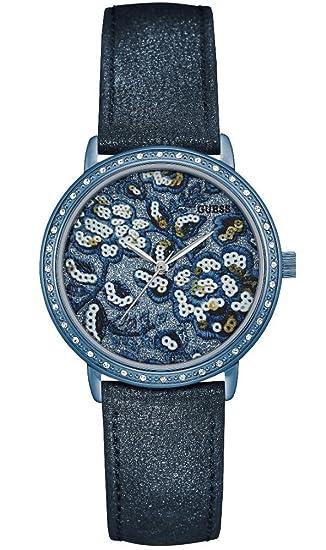 Guess Reloj Analogico para Mujer de Cuarzo con Correa en Cuero W0821L2: Amazon.es: Relojes