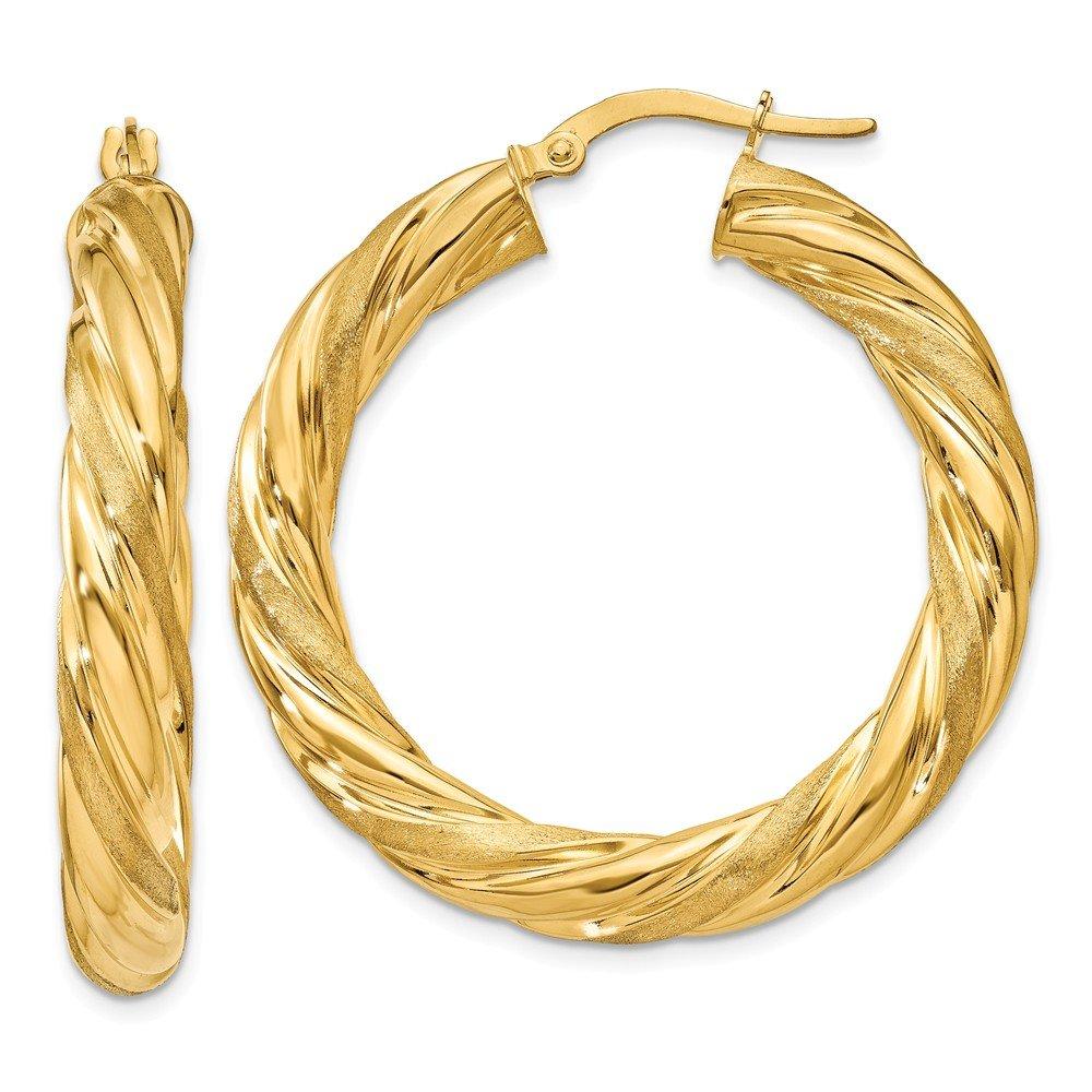 14k Yellow Gold Satin Twisted Hoop Earrings
