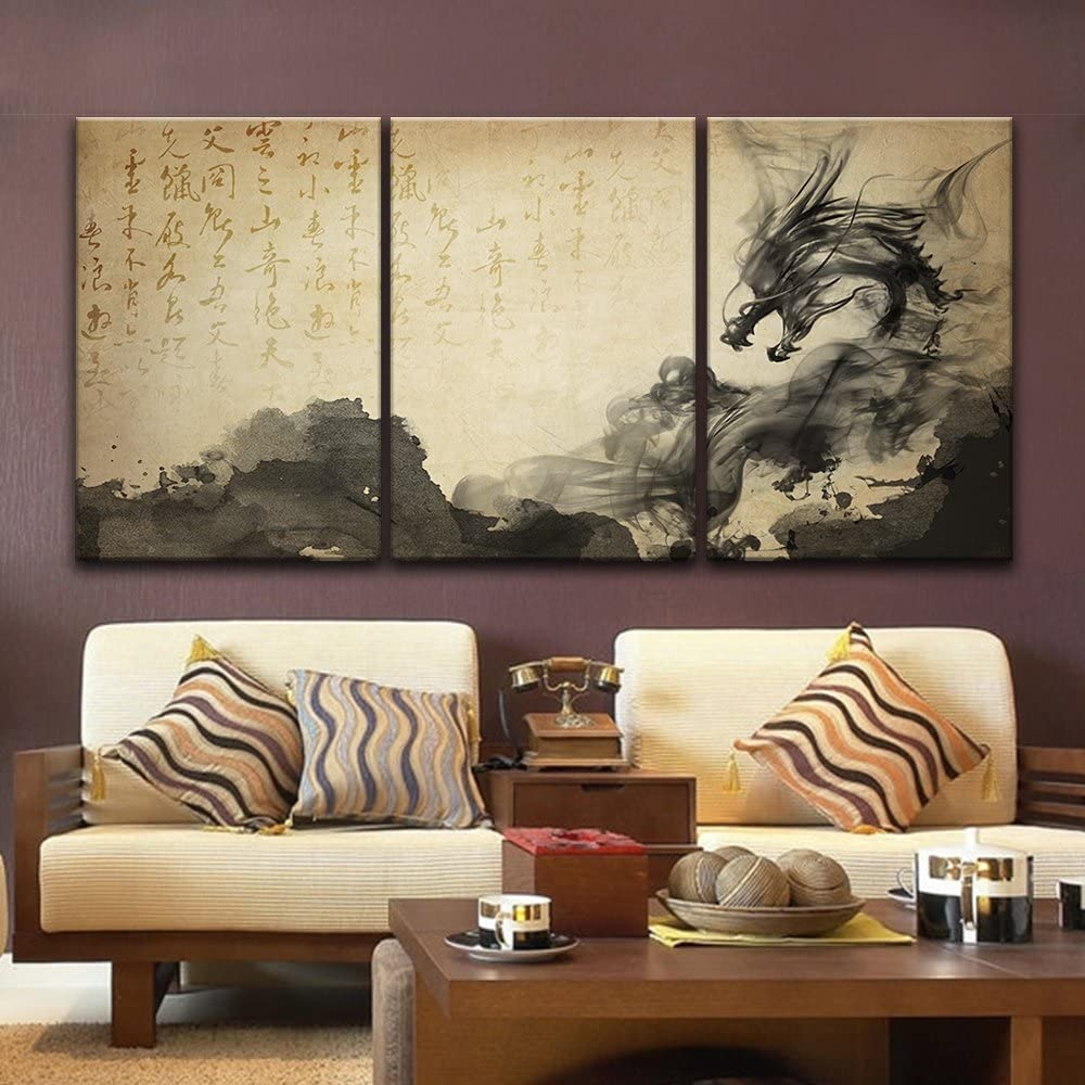 """wall26-3 Panel Canvas Wall Art - Chinese Ink Painting Style with Dragonlike Ink Splash and Calligraphy - Giclee Print Gallery Wrap Modern Home Decor Ready to Hang - 16""""x24"""" x 3 Panels"""