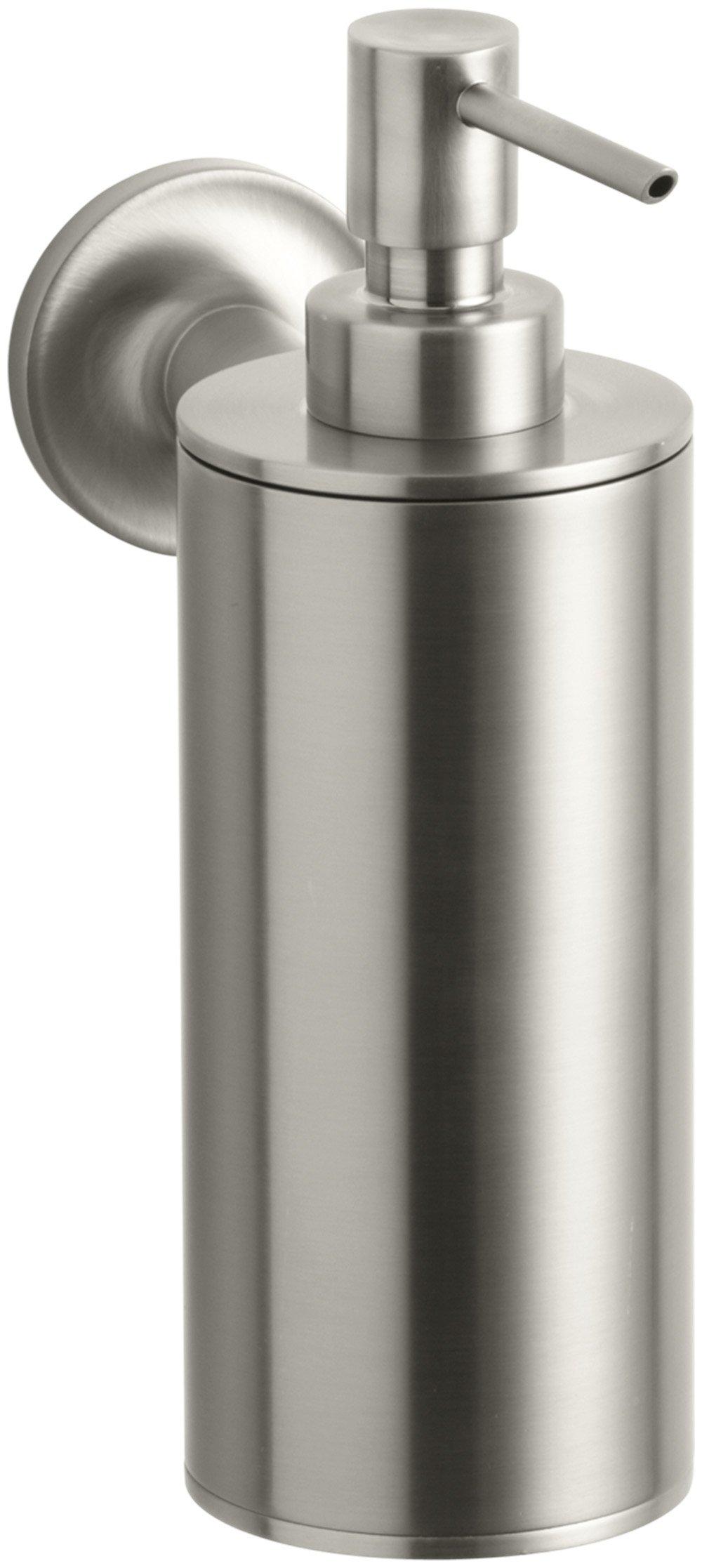 Kohler K-14380-BN Purist Wall-Mounted Soap Dispenser, Vibrant Brushed Nickel