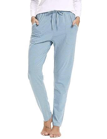 7f8dbcff3a Aibrou Damen Schlafanzughose Baumwolle Pyjamahose Lang Gestreifte Hose  Pants mit Seitentasche Blau L