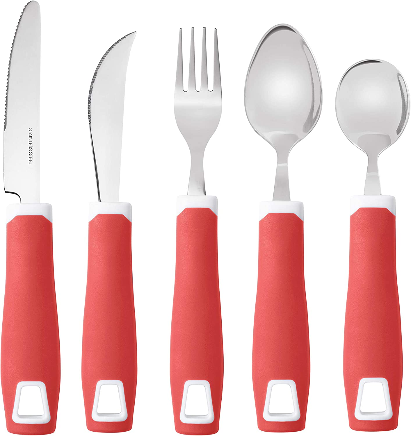 Adaptive Utensils (5-Piece Kitchen Set) Wide, Non-Weighted, Non-Slip Handles for Hand Tremors, Arthritis, Parkinson's or Elderly Use - Stainless Steel Knife, Rocker Knife, Fork, Spoons - Red