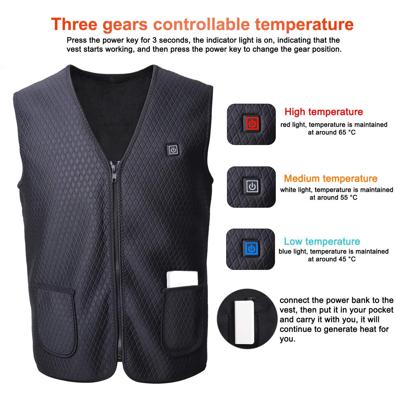 Amazon.com: Tagefa Chaleco calentador con carga USB, ropa ...