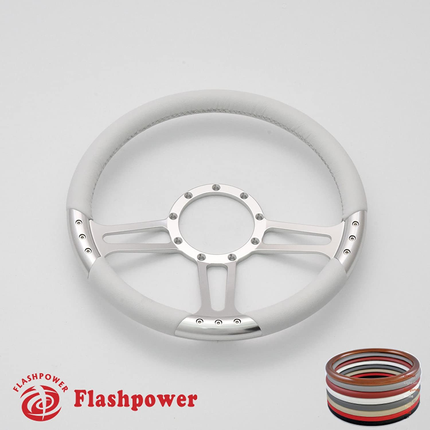 White Flashpower 14 Trinity Billet Full Wrap 9 Bolts Steering Wheel with 2 Dish and Horn Button