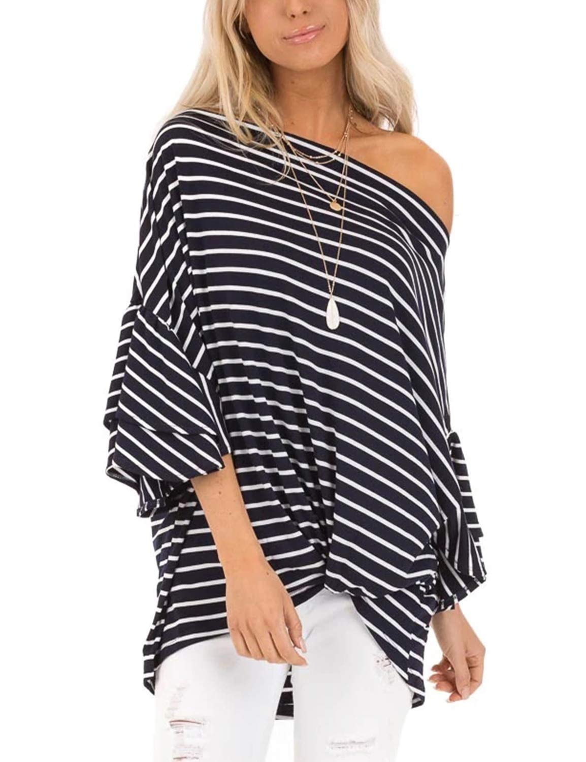 BMJL Women's One Shoulder Top Striped Print Shirt Flare Sleeve Knot Hem