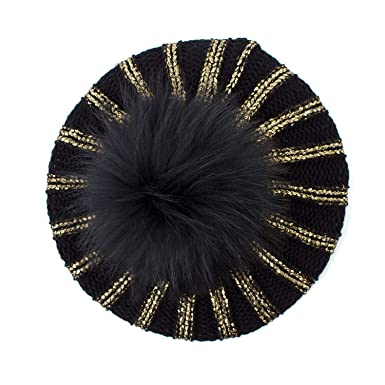 HiiWorld Women s Bronzing Black Berets Hat Ladies Spring Casual ... 2e3f2f8fd3c