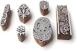 Paisley and Border Jaipuri Motif Wood Print Stamps (Set of 6)