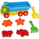 Liberty Imports Beach Toys Deluxe Playset for Kids - 7 Pieces Large Dump Truck Sand Shovel Set (Assorted Colors)