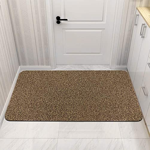 Indoor Outdoor Doormat with TPR Backing, Low-Profile Front Door Mat Non Slip, HIPPIH Entryway Welcome Mats, Entrance Rug Shoes Scraper for Doorway, Bathroom, Entry Way, Bedroom, Gold