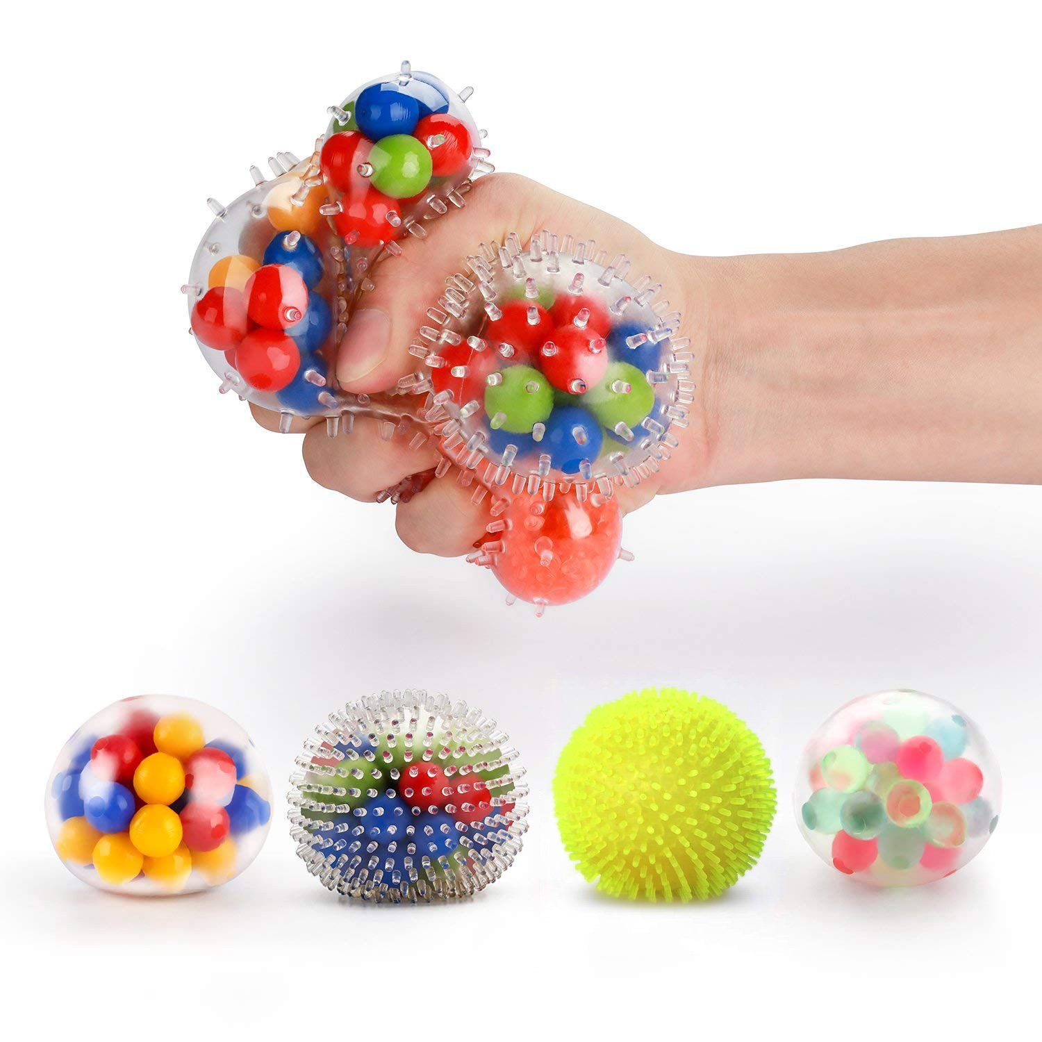 Fansteck Stress Balls for Kids, [4 Pack] Stress Relief Ball for Adults, Squeeze Ball/Sensory Ball, Rainbow LED Stress Ball, Ideal for Autism, Anxiety & More (4 Different Balls) by Fansteck