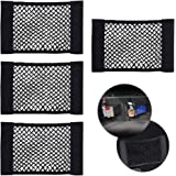 CUGBO 4 Pack Car Storage Net, Universal Black Mesh Trunk Cargo Side Back Seat Organizer, Nylon Velcro Wall Sticker Pouch…