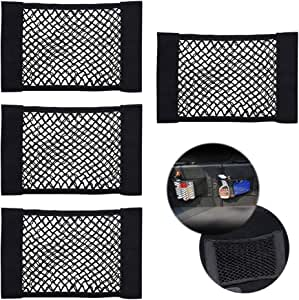 CUGBO 4 Pack Car Storage Net, Universal Black Mesh Trunk Cargo Side Back Seat Organizer, Nylon Velcro Wall Sticker Pouch Bag Auto Accessories(15 inchx 10 inch)