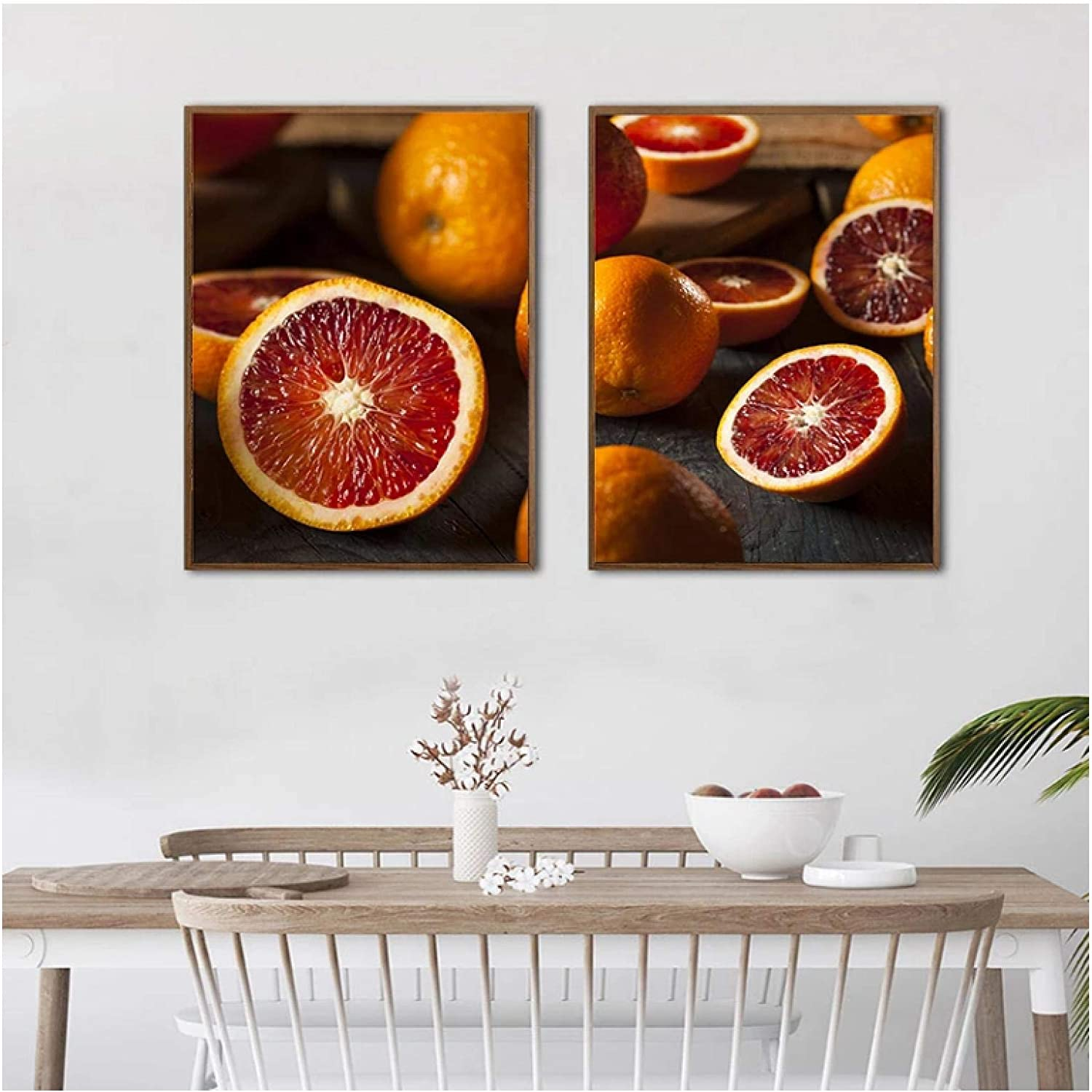 Food Poster and Fruit Organic Raw Red Blood Oranges Canvas Painting Wall Art Picture Kitchen Dining Room Decor Picture-40X60cmx2 Frameless