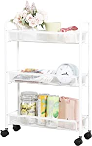 DESIGNA Rolling Household Trolley Cart, 3 Tier Slim Utility Carts with Steel Wire Shelves, Mesh Storage Cart with Easy Moving Wheels for Home Kitchen Bathroom, Multi-Function, White