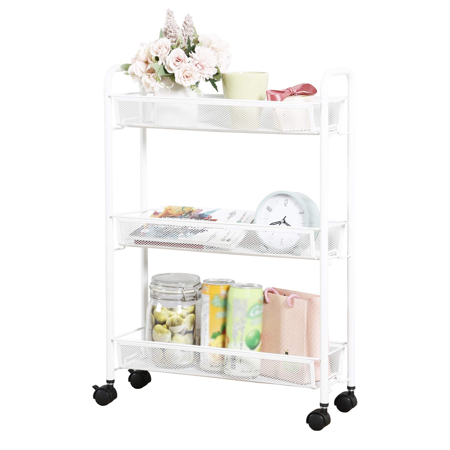 DESIGNA Rolling Household Trolley Cart, 3 Tier Slim Utility Carts with Steel Wire Shelves, Mesh Storage Cart with Easy Moving Wheels for Home Kitchen Bathroom, Multi-Function, White by DESIGNA