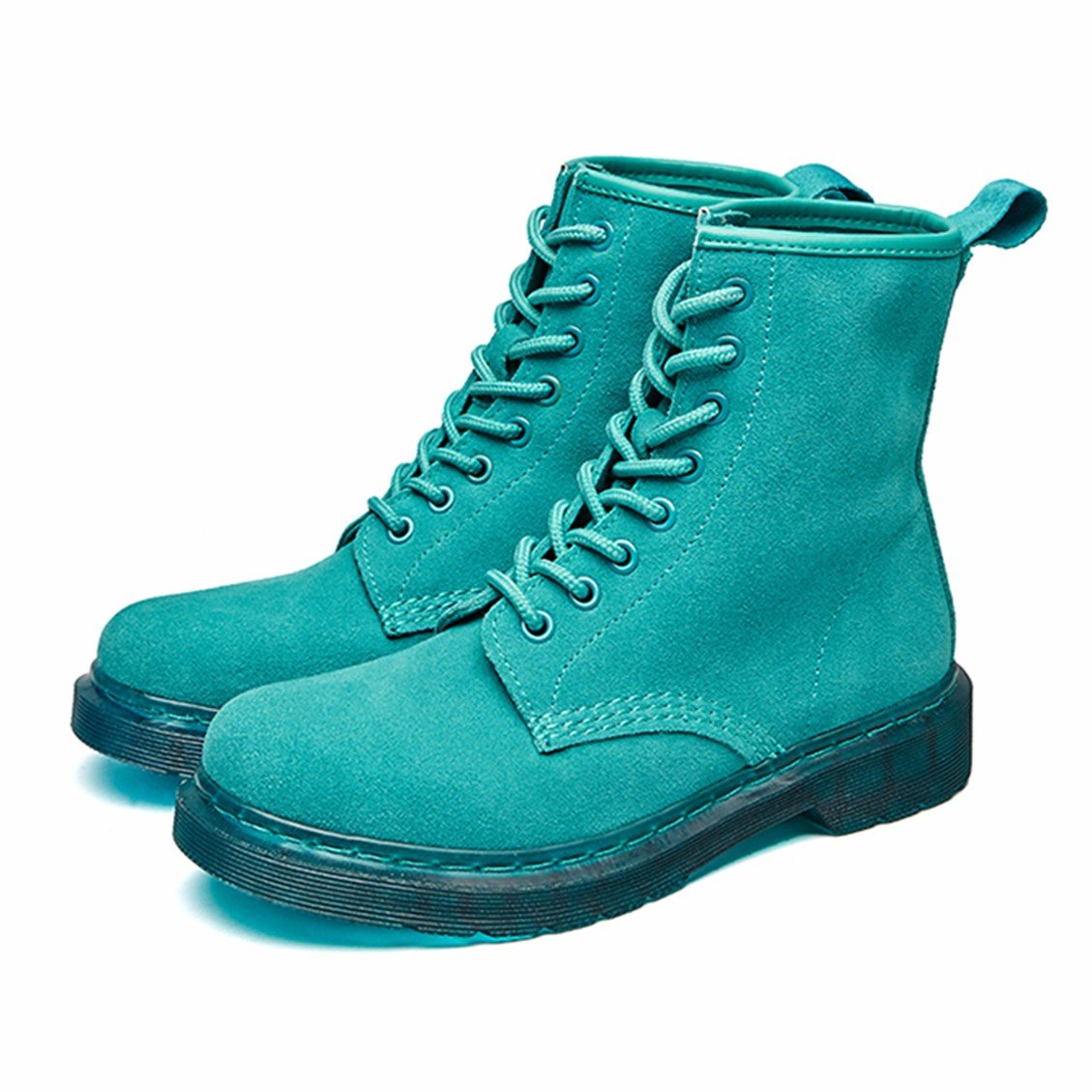 Modemoven Women's Round Toe Lase-up Ankle Boots Ladies Leather Combat Booties Fashion Martens Boots B0773Q6KGK 8.5 B(M) US|Green Suede