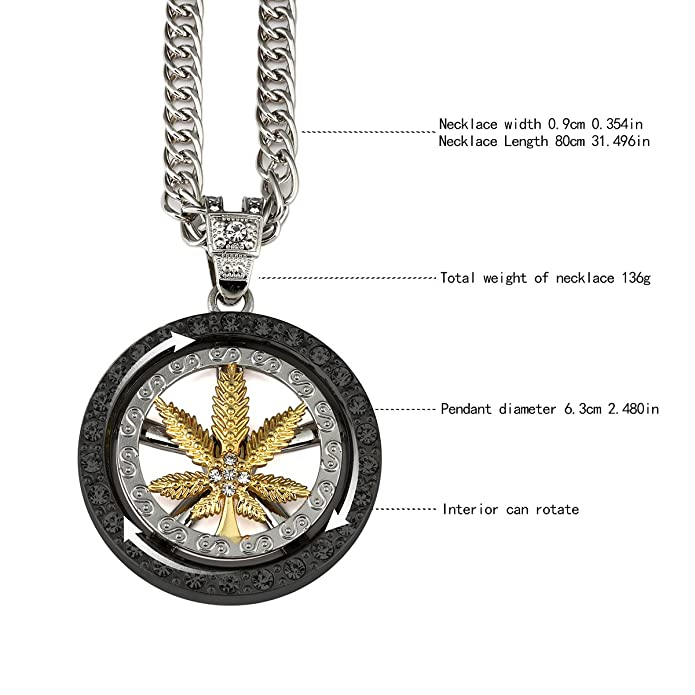 MCSAYS Hip Hop 18K Gold Plated Whirligig Spin Hemp weeds Leaf Necklaces Men Women Charm Crystal Weed Chains cZ2na