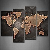 Generale Mondo Carta geografica Nero sfondo Pittura di arte della parete La stampa su tela di canapa Arte Quadri d'illustrazione per l'ufficio domestico Decorazione moderna