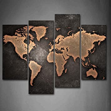 Modern World Map Canvas. General World Map Black Background Wall Art Painting Pictures Print On  Canvas The Picture For Amazon com