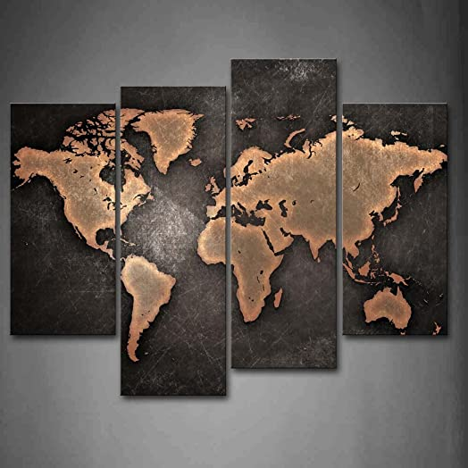 General world map black background wall art painting pictures general world map black background wall art painting pictures print on canvas art the picture for gumiabroncs Gallery