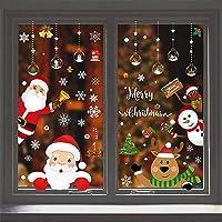 YFLZBY Pegatinas de ventana de Navidad, 183 piezas, copos de nieve, reno, Papá Noel, pegatinas para ventana, decoración…