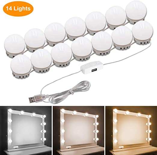 Vanity Lights for Mirror,Adjustable Brightness with 14 LED Light Bulbs Lighted Makeup Vanity Mirror,Lighting Fixture Strip for Makeup Vanity Table Set in Dressing Room Mirror Not Include