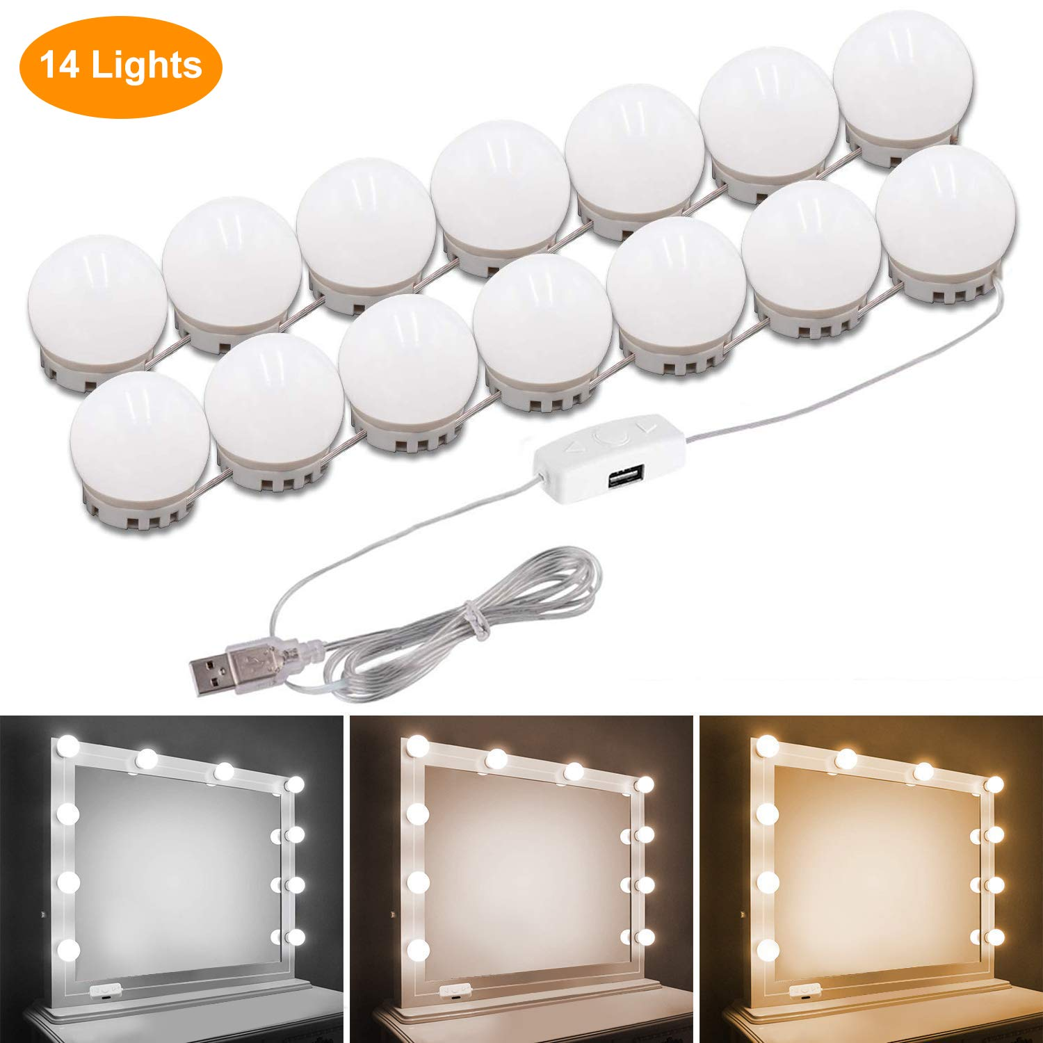 Pretmess Hollywood Style Vanity Mirror Lights Kit, Adjustable Color and Brightness with 14 LED Light Bulbs, Lighting Fixture Strip for Makeup Vanity Table Set in Dressing Room (Mirror Not Include)