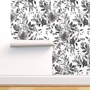 Spoonflower Peel And Stick Removable Wallpaper Black And White Floral Cottage Chic Florals Roses Flowers Print Self Adhesive Wallpaper 12in X 24in Test Swatch Amazon Com