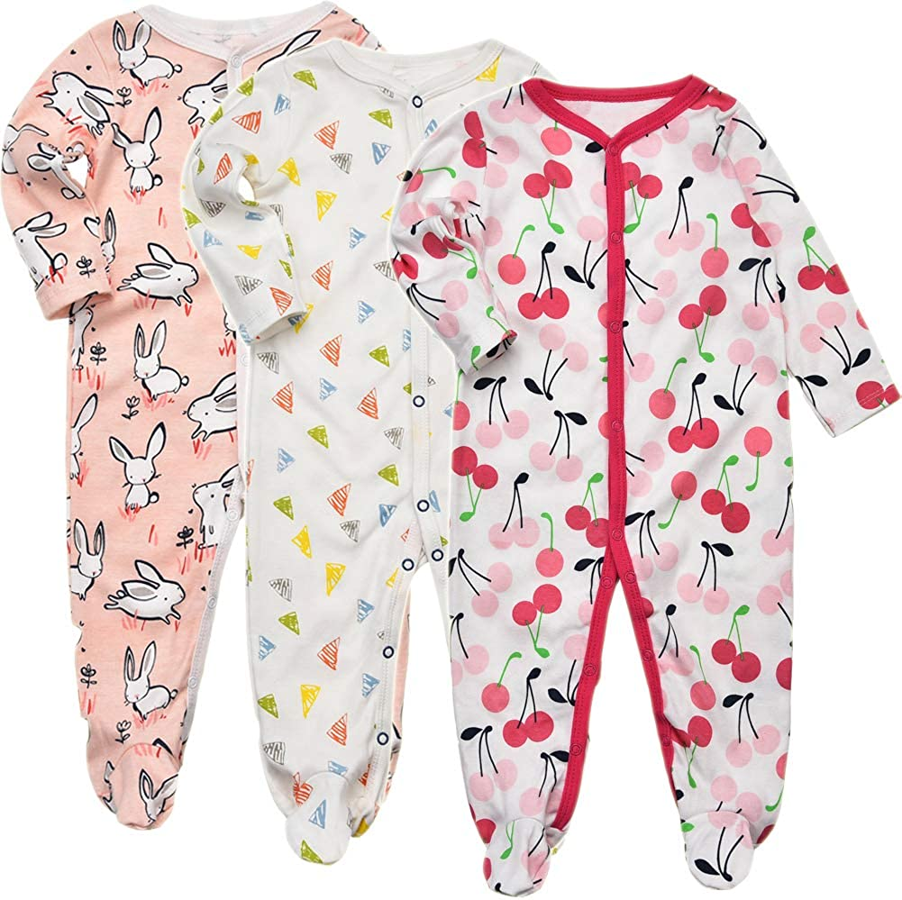 3 Packs Infant Girls Boys Cotton Long Sleeve Jumpsuit Newborn Romper Bodysuit Sleepwear Exemaba Baby Footed Pajamas Sleeper