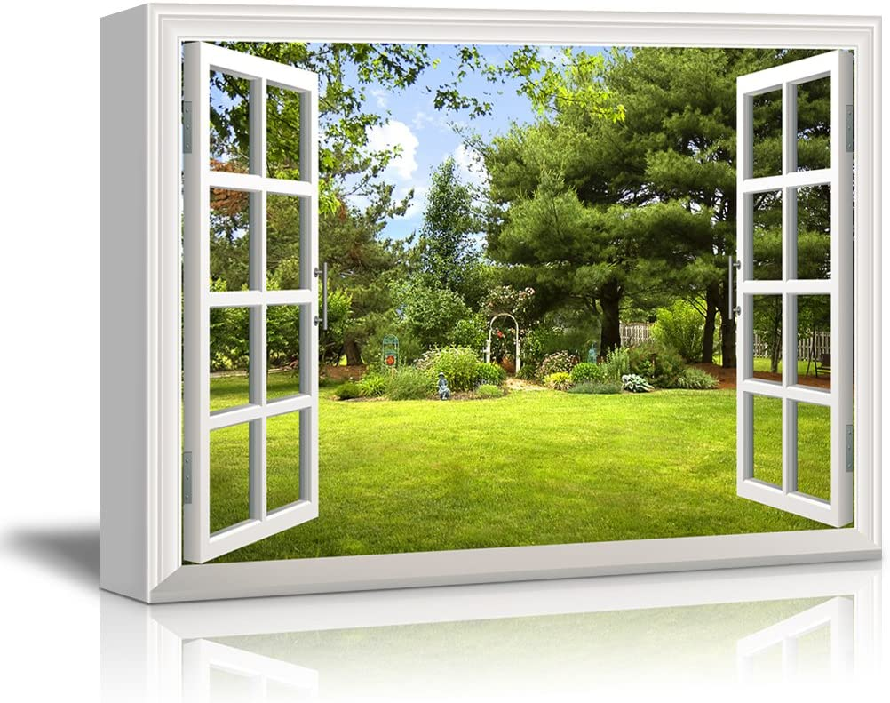 Print Window Frame Style Beautiful Garden Backyard with Green Trees and Clear Blue Sky in Spring Gallery Stretched - Canvas Art Wall Art - 24