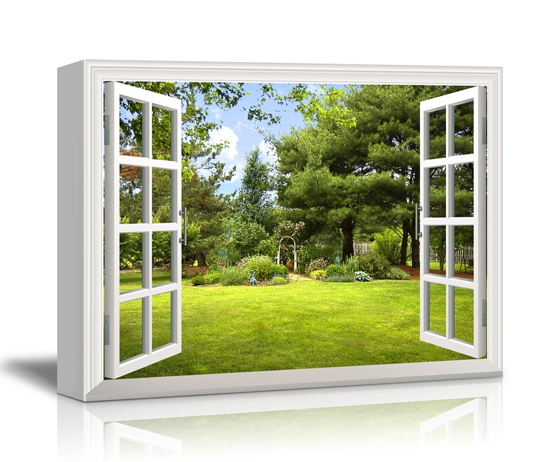 canvas print wall art window frame style wall decor beautiful gardenbackyard with green trees and clear blue sky in spring giclee print gallery wrap - Window Frame Wall Decor