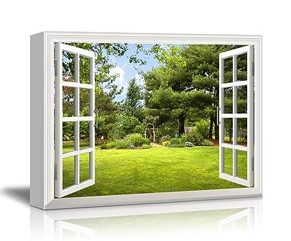Amazon.com: Canvas Print Wall Art - Window Frame Style Wall Decor ...
