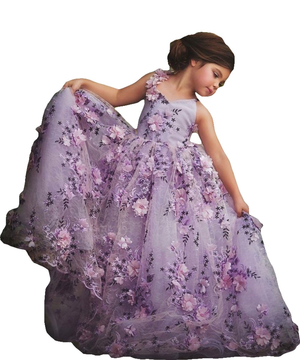 Newdeve Girls Princess Gown 3D Flower Baby Toddler Flower Girls Dress (12, Purple)
