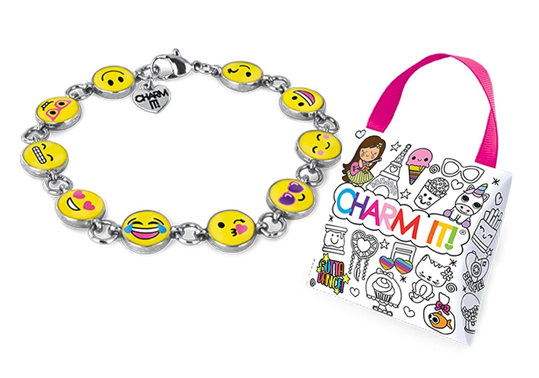 Charm It Emoji Bracelet and Ribbon Carry Jewelry Pouch Set