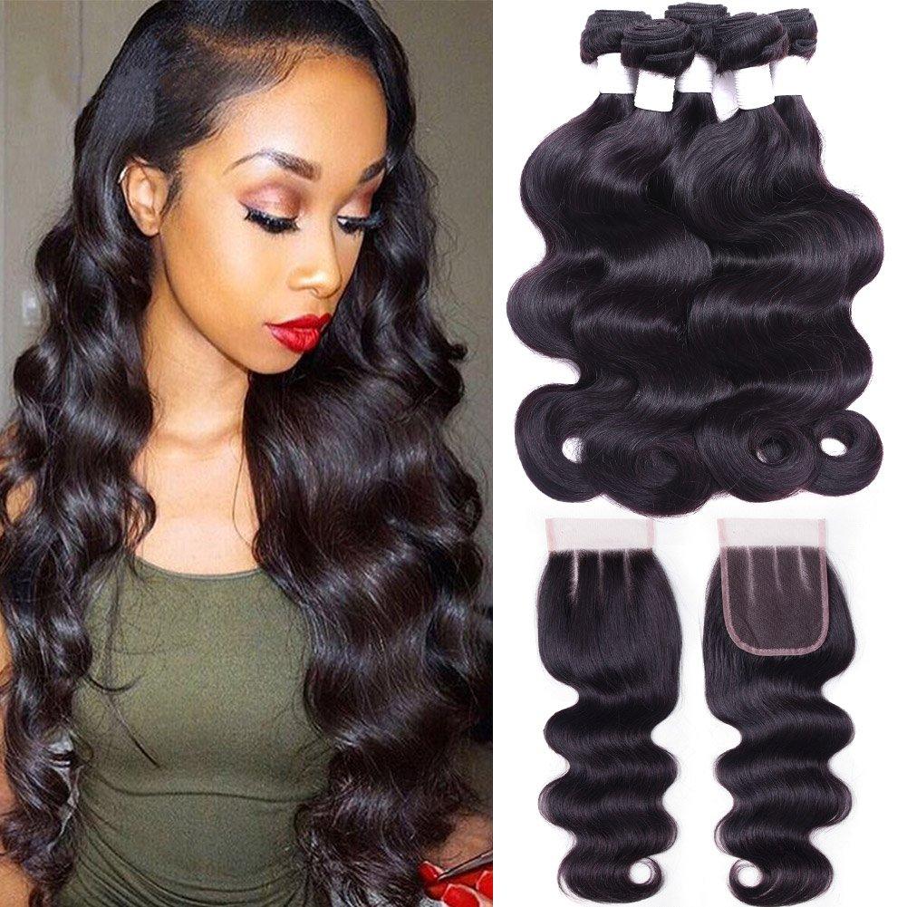Flady Brazilian Body Wave with Closure 7a Unprocessed Brazilian Virgin Hair 3 Bundles with Three Part Closure Natural Black Human Hair Bundles With Closure (18 20 22+16inch closure)