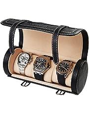 BILLSTONE Traveller Watch Roll for 3 Watches, Portable Watch Case, Travel Watch Organizer, Watch Box (Black Nappa Leather)