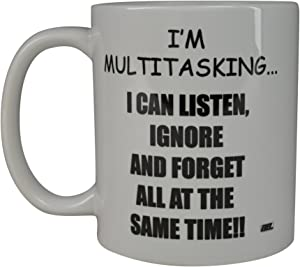 Rogue River Funny Coffee Mug I'M Multitasking Novelty Cup Great Gift Idea For Office Party Employee Boss Coworkers (I'M Multitasking)
