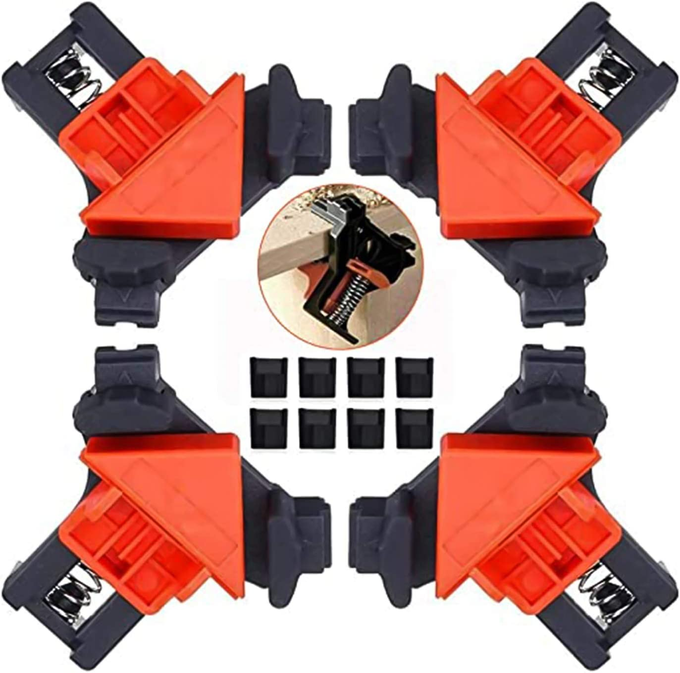 4PCS 90 Degree Angle Clamp Right Clamp Adjustable Swing Corner Clamps, Multi-function Woodworking Fixing Clips for Making Cabinets, Furniture Repair Connection, Welding, Drilling and Drawers