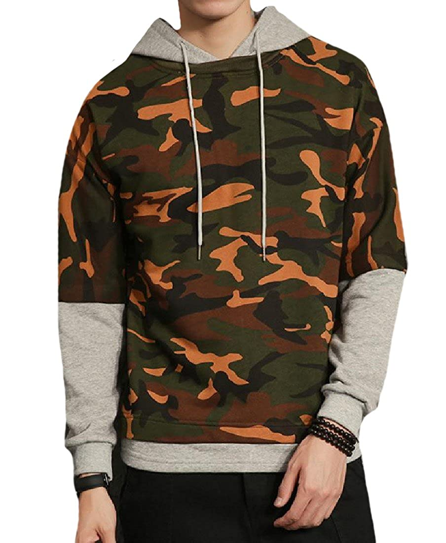 NestYu Mens Athletic Patched Camo Casual Loose Juniors Hoodies